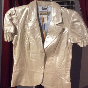 Rare! Alan B cream/silver pearl color leather coat